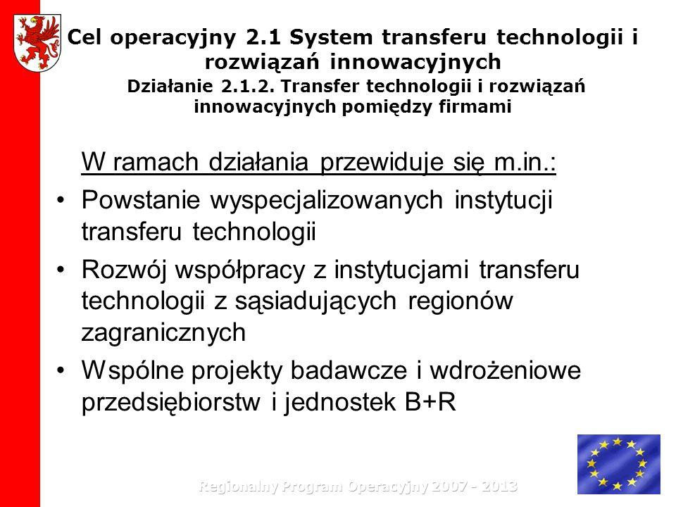 Cel operacyjny 2.1 System transferu technologii i rozwiązań innowacyjnych Działanie 2.1.2. Transfer technologii i rozwiązań innowacyjnych pomiędzy fir
