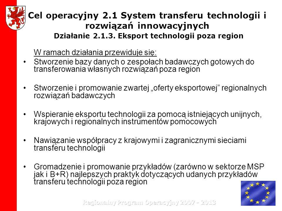 Cel operacyjny 2.1 System transferu technologii i rozwiązań innowacyjnych Działanie 2.1.3. Eksport technologii poza region W ramach działania przewidu