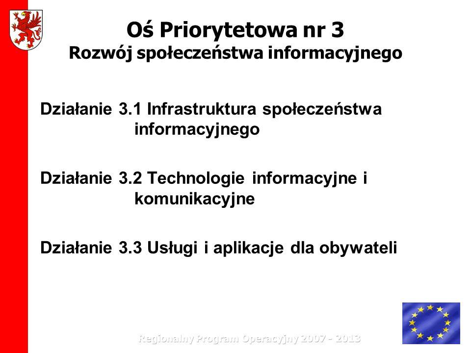 Oś Priorytetowa nr 3 Rozwój społeczeństwa informacyjnego Działanie 3.1 Infrastruktura społeczeństwa informacyjnego Działanie 3.2 Technologie informacy