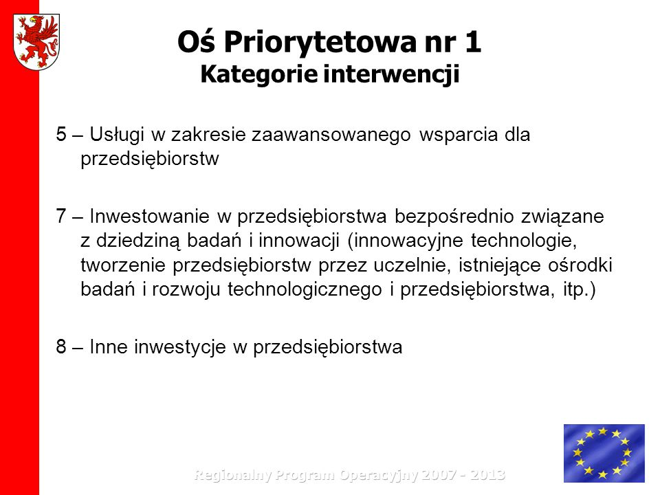 Oś Priorytetowa nr 1 Kategorie interwencji 5 – Usługi w zakresie zaawansowanego wsparcia dla przedsiębiorstw 7 – Inwestowanie w przedsiębiorstwa bezpo
