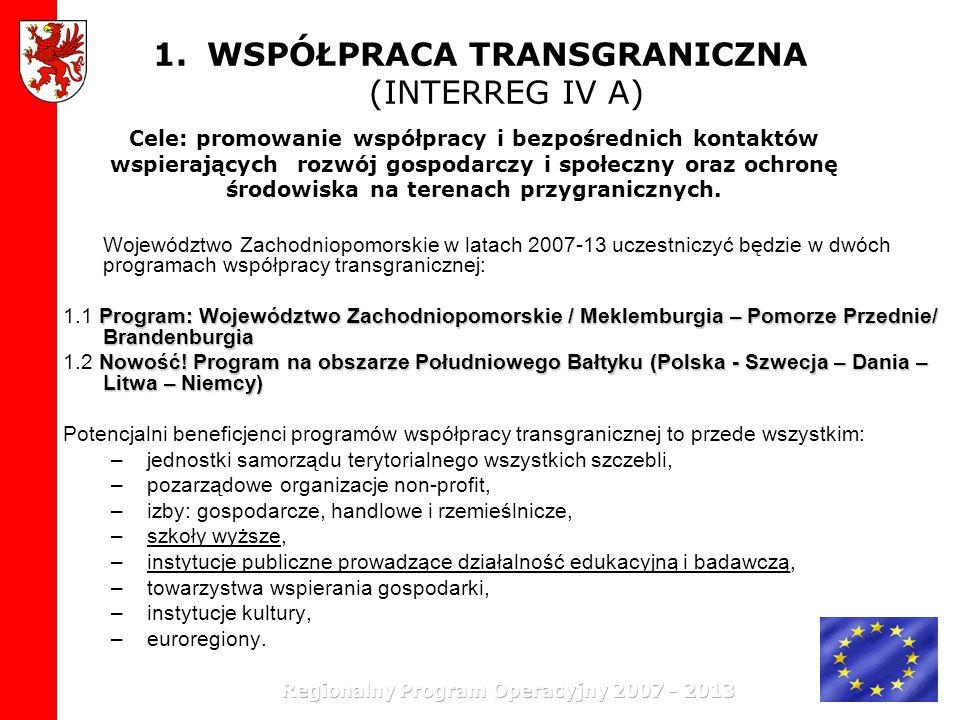1.WSPÓŁPRACA TRANSGRANICZNA (INTERREG IV A) Województwo Zachodniopomorskie w latach 2007-13 uczestniczyć będzie w dwóch programach współpracy transgra
