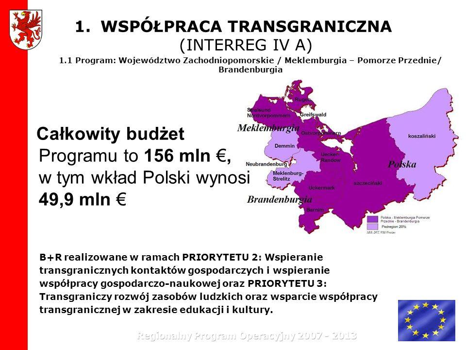 1.WSPÓŁPRACA TRANSGRANICZNA (INTERREG IV A) 1.1 Program: Województwo Zachodniopomorskie / Meklemburgia – Pomorze Przednie/ Brandenburgia Całkowity bud