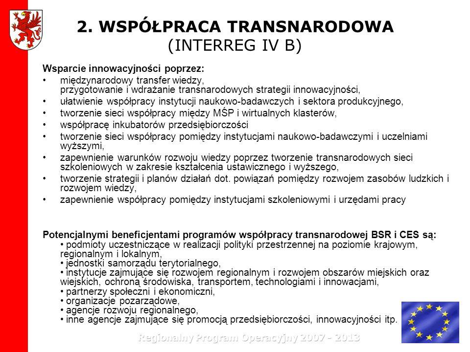 2. WSPÓŁPRACA TRANSNARODOWA (INTERREG IV B) Wsparcie innowacyjności poprzez: międzynarodowy transfer wiedzy, przygotowanie i wdrażanie transnarodowych