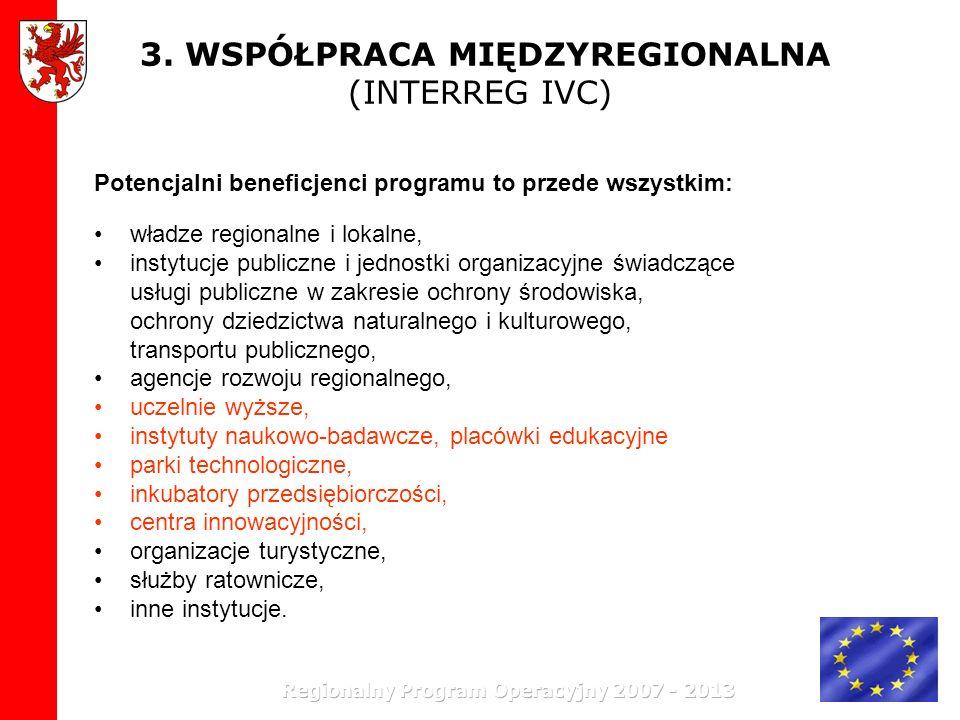 3. WSPÓŁPRACA MIĘDZYREGIONALNA (INTERREG IVC) Potencjalni beneficjenci programu to przede wszystkim: władze regionalne i lokalne, instytucje publiczne