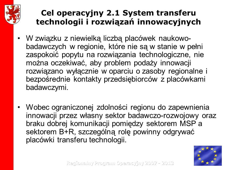 Cel operacyjny 2.1 System transferu technologii i rozwiązań innowacyjnych W związku z niewielką liczbą placówek naukowo- badawczych w regionie, które
