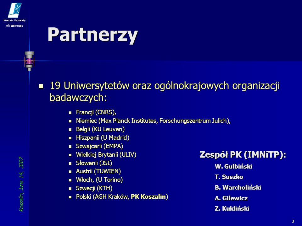 Koszalin, June 14, 2007 Koszalin University of Technology 14 NoE 2005-2009