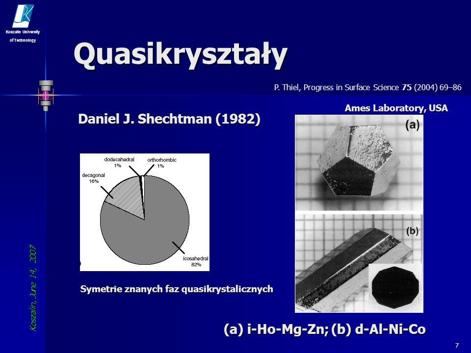 Koszalin, June 14, 2007 Koszalin University of Technology 8 Quasikryształy Mozaika Penrosea Łańcuch Fibbonaciego L1L1L1L1 L2L2L2L2 L3L3L3L3 L4L4L4L4 L5L5L5L5 L6L6L6L6 L7L7L7L7 … L n = L n-1 L n-2 lub P.