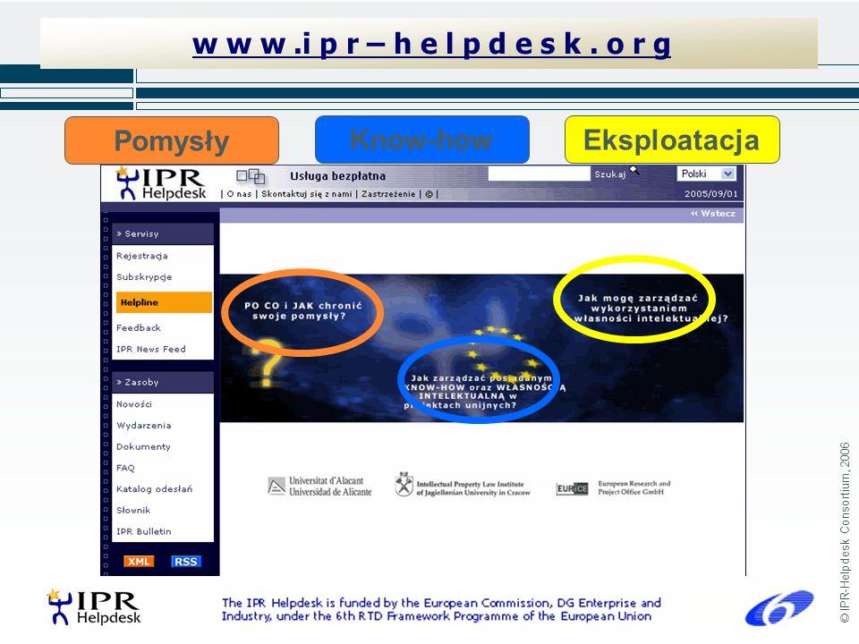© IPR-Helpdesk Consortium, 2006 w w w.i p r – h e l p d e s k. o r g Pomysły Know-how Eksploatacja