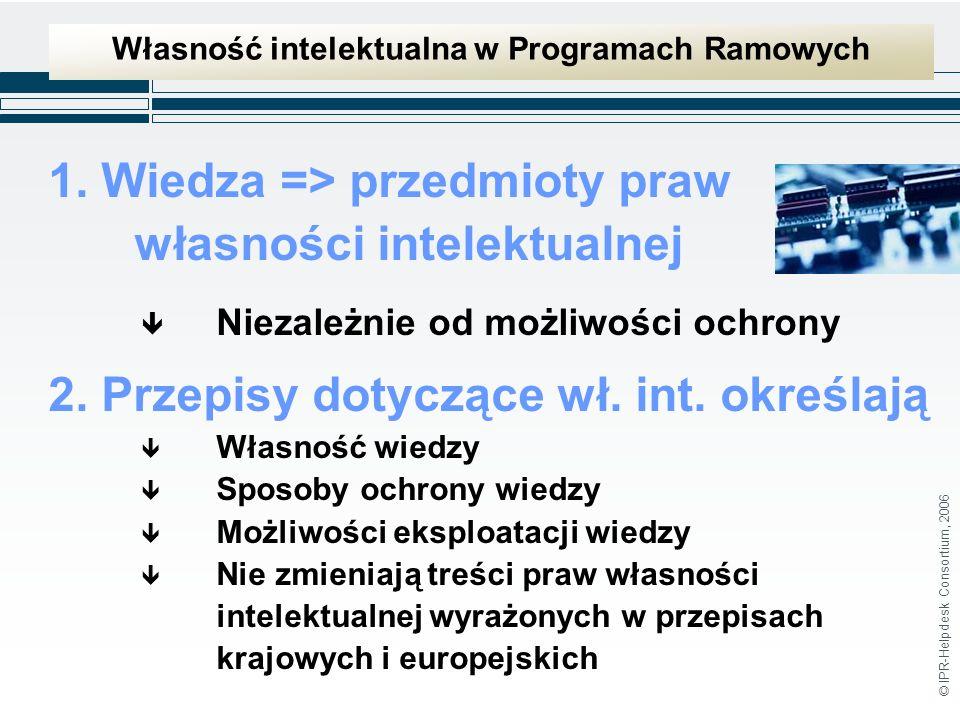 © IPR-Helpdesk Consortium, 2006 Własność intelektualna w Programach Ramowych 1.
