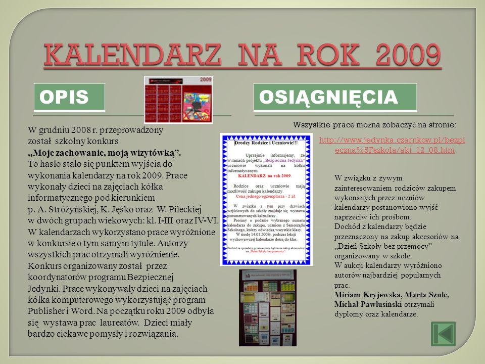 OPIS OSIĄGNIĘCIA W grudniu 2008 r. przeprowadzony został szkolny konkurs Moje zachowanie, moją wizytówką. To hasło stało się punktem wyjścia do wykona