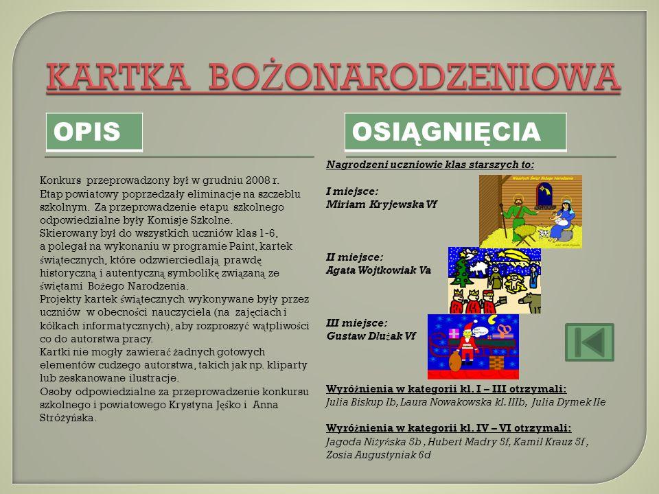 Konkurs przeprowadzony by ł w grudniu 2008 r. Etap powiatowy poprzedza ł y eliminacje na szczeblu szkolnym. Za przeprowadzenie etapu szkolnego odpowie