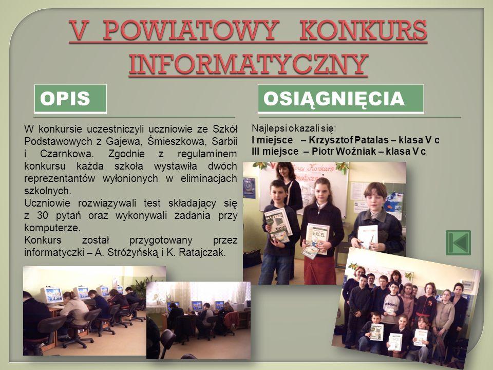 OPIS OSIĄGNIĘCIA W konkursie uczestniczyli uczniowie ze Szkół Podstawowych z Gajewa, Śmieszkowa, Sarbii i Czarnkowa. Zgodnie z regulaminem konkursu ka