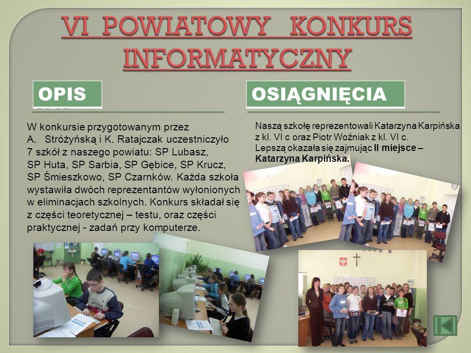 OPIS OSIĄGNIĘCIA W konkursie przygotowanym przez A.Stróżyńską i K. Ratajczak uczestniczyło 7 szkół z naszego powiatu: SP Lubasz, SP Huta, SP Sarbia, S