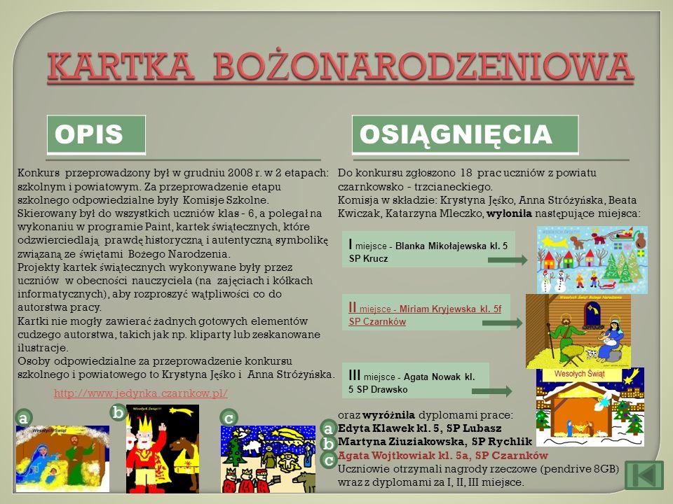 OPIS OSIĄGNIĘCIA Konkurs przeprowadzony by ł w grudniu 2008 r. w 2 etapach: szkolnym i powiatowym. Za przeprowadzenie etapu szkolnego odpowiedzialne b