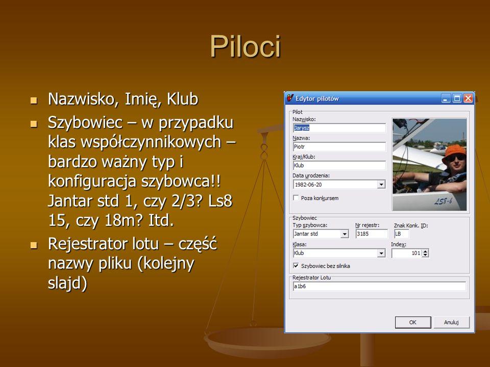 Rejestrator lotu – nazwa pliku Standardowo nadawane nazwy plików IGC mają pewną stałą konfigurację: Standardowo nadawane nazwy plików IGC mają pewną stałą konfigurację: 34KA1B62.IGC Data (kolejny dzień w systemie hex.) NUMER SERYJNY LOGGERA Kolejny numer pliku z danego dnia Seeyou może powiązać pewien stały ciąg pojawiający się w nazwie pliku z konkretnym pilotem.