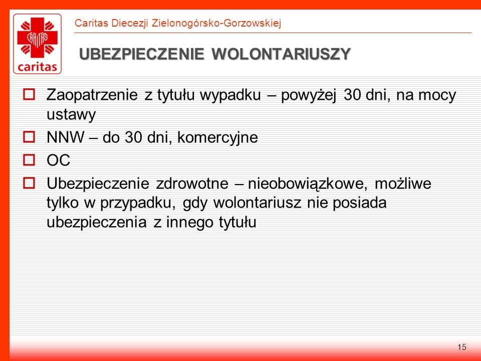 Caritas Diecezji Zielonogórsko-Gorzowskiej 15 UBEZPIECZENIE WOLONTARIUSZY Zaopatrzenie z tytułu wypadku – powyżej 30 dni, na mocy ustawy NNW – do 30 d