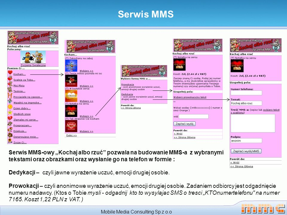 Serwis MMS Mobile Media Consulting Sp z o.o Serwis MMS-owy Kochaj albo rzuć pozwala na budowanie MMS-a z wybranymi tekstami oraz obrazkami oraz wysłan