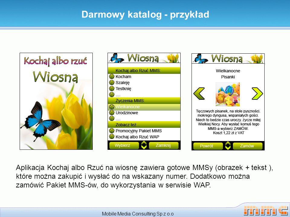 Darmowy katalog - przykład Mobile Media Consulting Sp z o.o Aplikacja Kochaj albo Rzuć na wiosnę zawiera gotowe MMSy (obrazek + tekst ), które można z