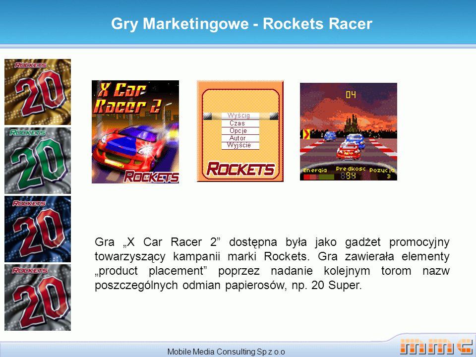 Gry Marketingowe - Rockets Racer Mobile Media Consulting Sp z o.o Gra X Car Racer 2 dostępna była jako gadżet promocyjny towarzyszący kampanii marki Rockets.