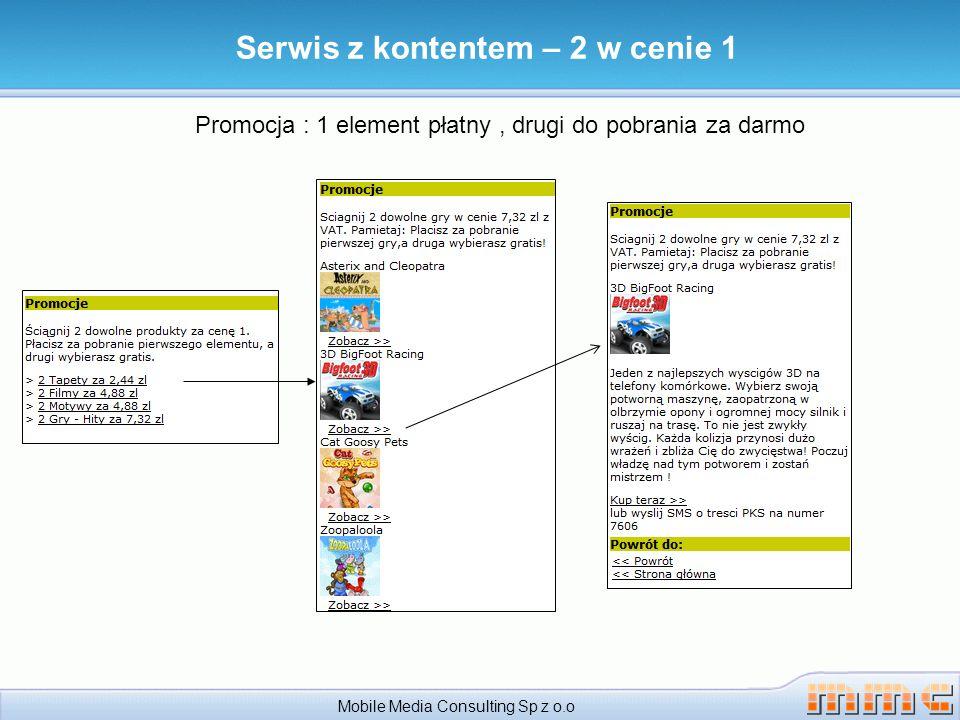 Serwis z kontentem – 2 w cenie 1 Mobile Media Consulting Sp z o.o Promocja : 1 element płatny, drugi do pobrania za darmo