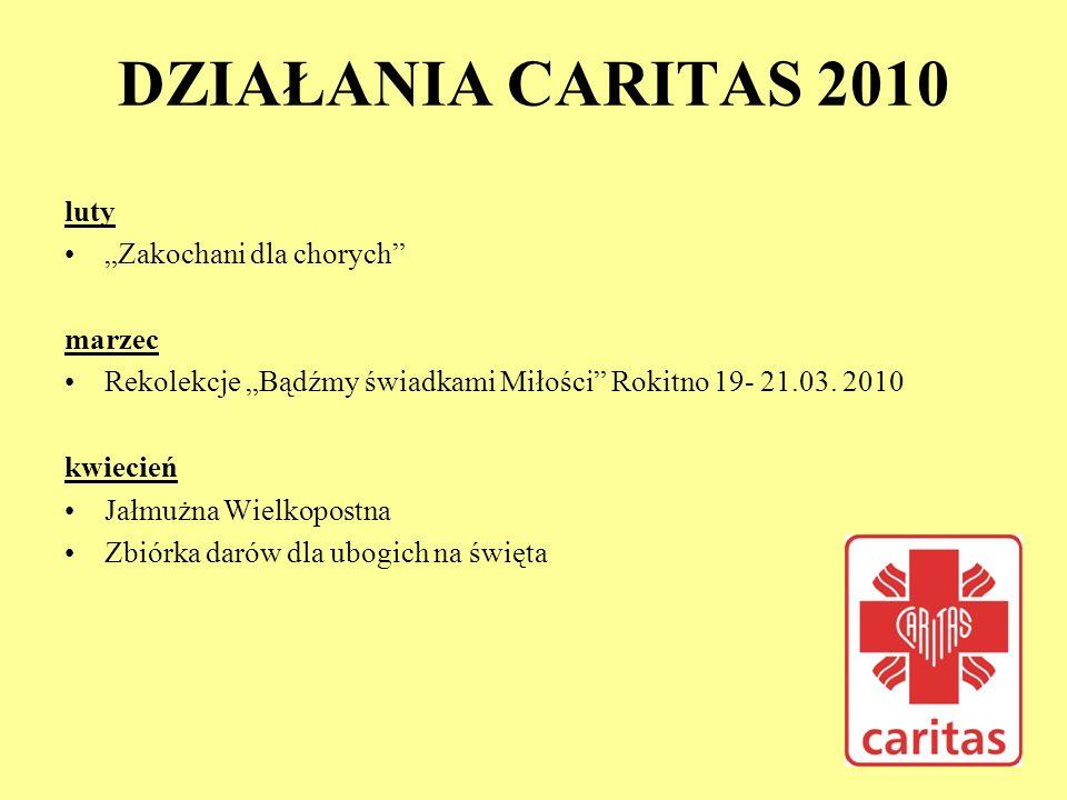 DZIAŁANIA CARITAS 2010 luty Zakochani dla chorych marzec Rekolekcje Bądźmy świadkami Miłości Rokitno 19- 21.03. 2010 kwiecień Jałmużna Wielkopostna Zb