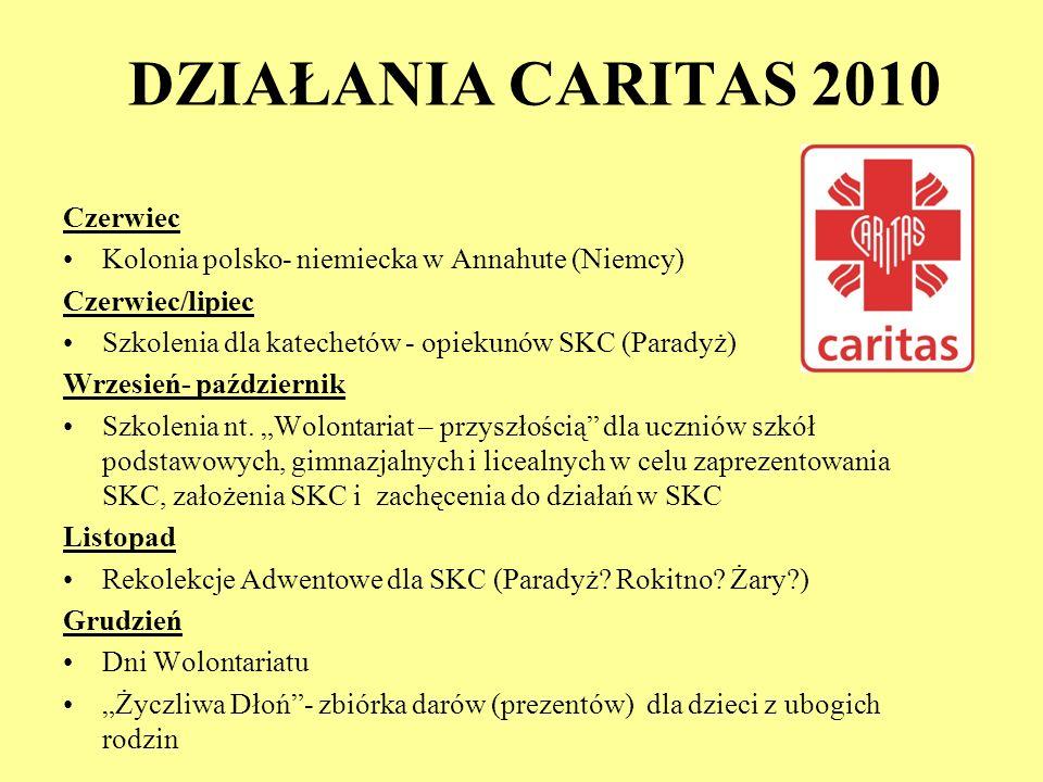 DZIAŁANIA CARITAS 2010 Czerwiec Kolonia polsko- niemiecka w Annahute (Niemcy) Czerwiec/lipiec Szkolenia dla katechetów - opiekunów SKC (Paradyż) Wrzes