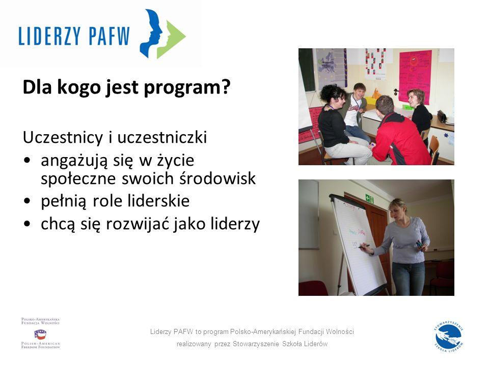 Program w liczbach: Dla kogo jest program? Uczestnicy i uczestniczki angażują się w życie społeczne swoich środowisk pełnią role liderskie chcą się ro