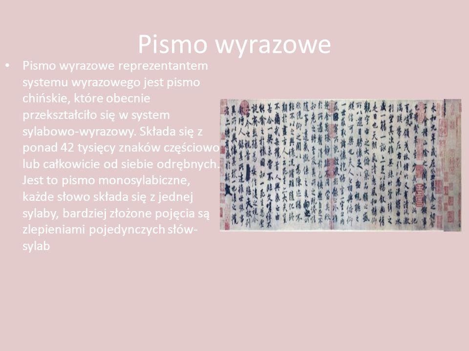 Pismo wyrazowe Pismo wyrazowe reprezentantem systemu wyrazowego jest pismo chińskie, które obecnie przekształciło się w system sylabowo-wyrazowy. Skła