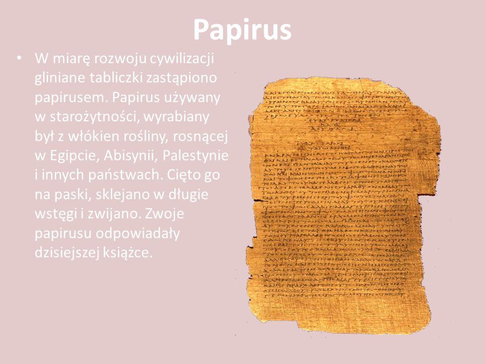 Papirus W miarę rozwoju cywilizacji gliniane tabliczki zastąpiono papirusem. Papirus używany w starożytności, wyrabiany był z włókien rośliny, rosnące
