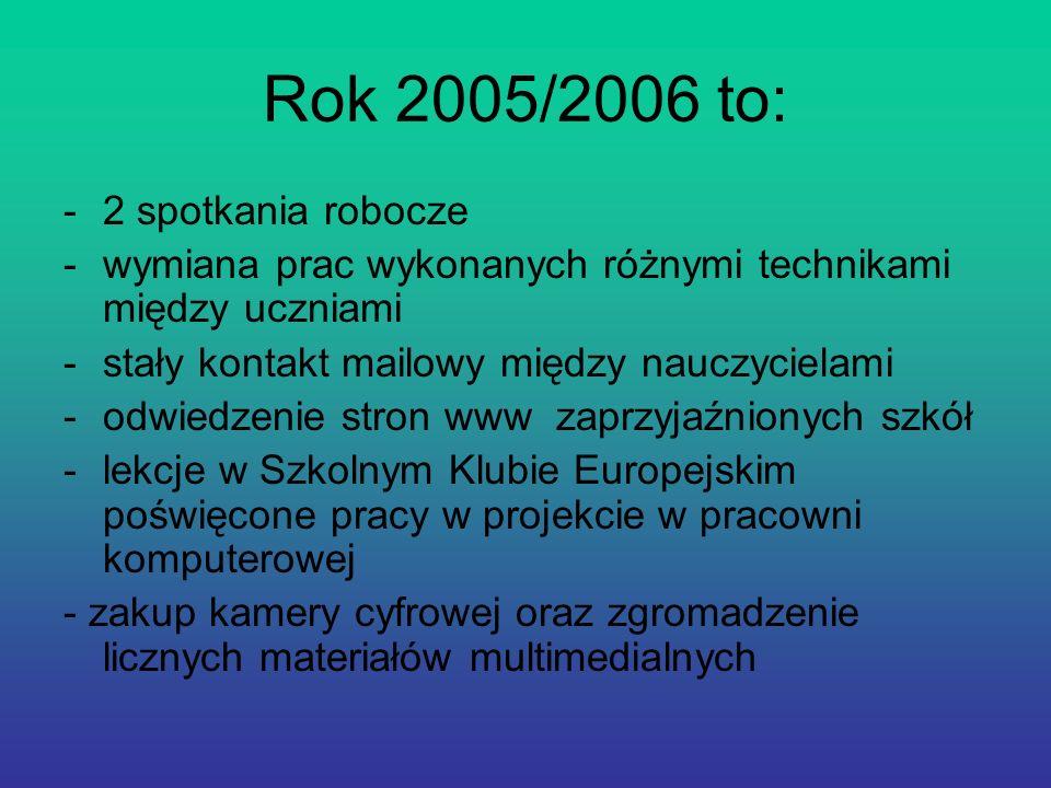 Rok 2005/2006 to: -2 spotkania robocze -wymiana prac wykonanych różnymi technikami między uczniami -stały kontakt mailowy między nauczycielami -odwied