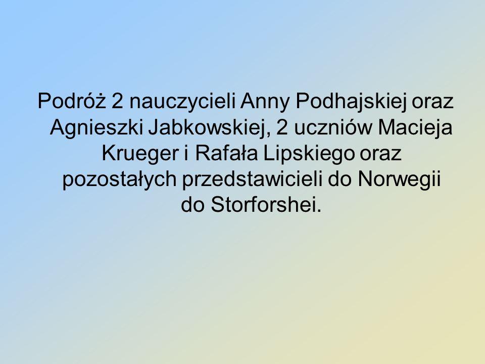 Podróż 2 nauczycieli Anny Podhajskiej oraz Agnieszki Jabkowskiej, 2 uczniów Macieja Krueger i Rafała Lipskiego oraz pozostałych przedstawicieli do Nor