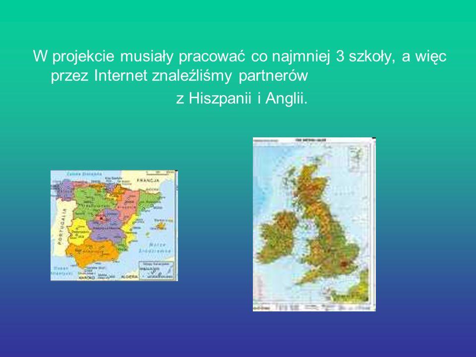 W projekcie musiały pracować co najmniej 3 szkoły, a więc przez Internet znaleźliśmy partnerów z Hiszpanii i Anglii.