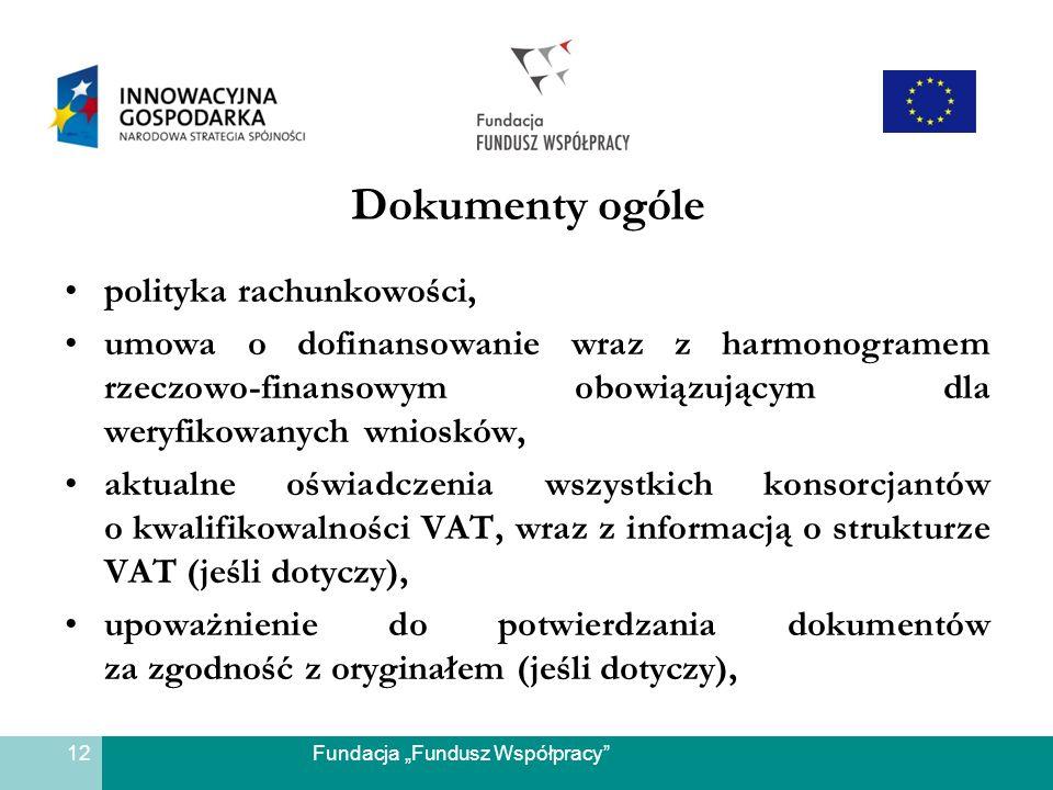 Fundacja Fundusz Współpracy Dokumenty ogóle polityka rachunkowości, umowa o dofinansowanie wraz z harmonogramem rzeczowo-finansowym obowiązującym dla