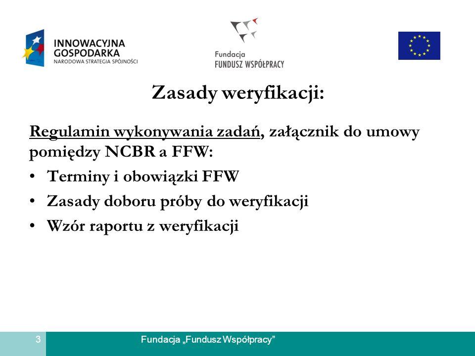 Fundacja Fundusz Współpracy Zasady weryfikacji: Regulamin wykonywania zadań, załącznik do umowy pomiędzy NCBR a FFW: Terminy i obowiązki FFW Zasady do