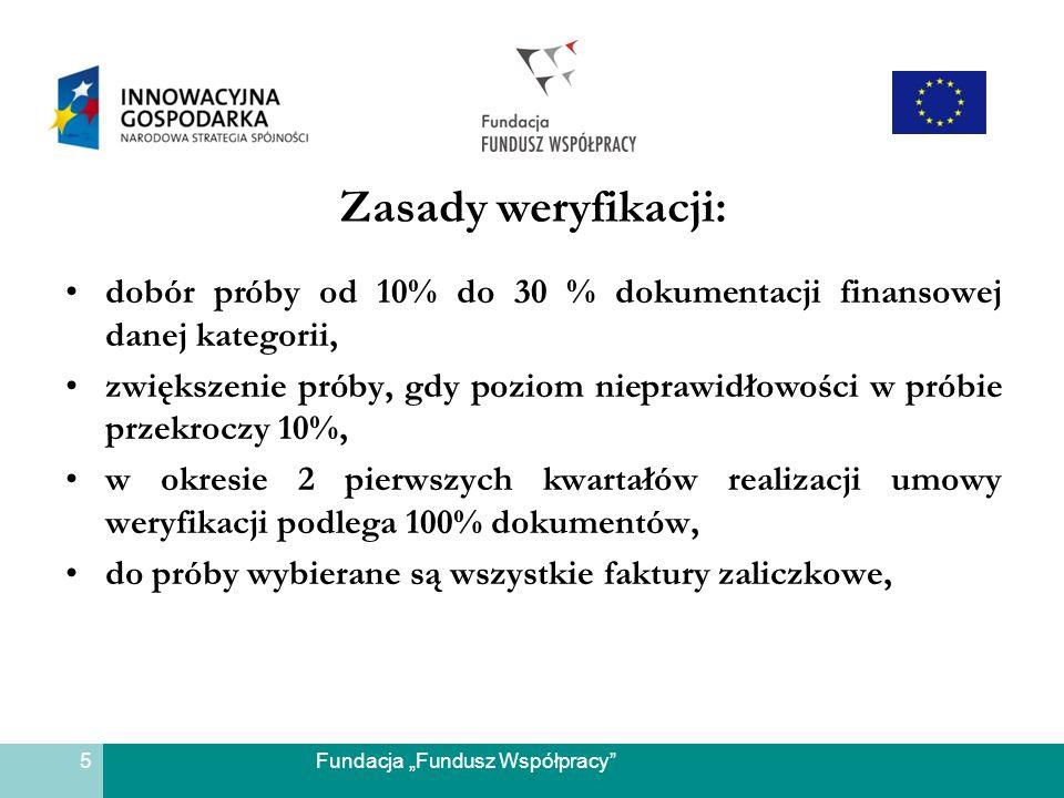 Fundacja Fundusz Współpracy Zasady weryfikacji: dobór próby od 10% do 30 % dokumentacji finansowej danej kategorii, zwiększenie próby, gdy poziom niep