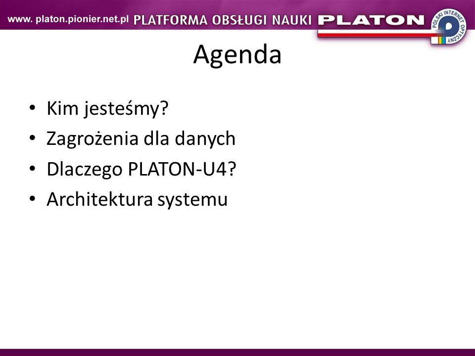 KMD – Krajowy Magazyn Danych – projekt rozwojowy (2007-2009) w ramach którego powstało oprogramowanie PLATON-U4 – Usługa powszechnej archiwizacji – wdrożenie oprogramowania KMD dla użytkowników EDUkacyjnych (2010) Konsorcjum: PCSSPoznań CYFRONET AGHKraków TASKGdańsk WCSSWrocław ICM UWWarszawa BiaMANBiałystok LubMANLublin LodMANŁódź Politechnika CzęstochowskaCzęstochowa Politechnika ŚwiętokrzyskaKielce PLATON-U4: Kim jesteśmy?