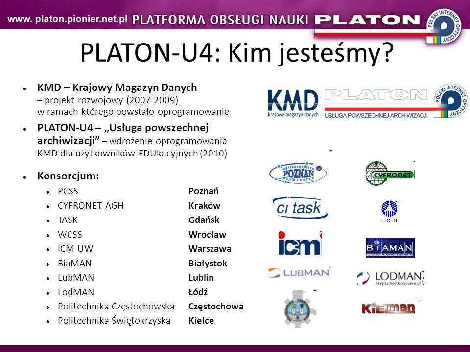 KMD – Krajowy Magazyn Danych – projekt rozwojowy (2007-2009) w ramach którego powstało oprogramowanie PLATON-U4 – Usługa powszechnej archiwizacji – wdrożenie oprogramowania KMD dla użytkowników EDUkacyjnych (2010) Konsorcjum: PCSSPoznań CYFRONET AGHKraków TASKGdańsk WCSSWrocław ICM UWWarszawa BiaMANBiałystok LubMANLublin LodMANŁódź Politechnika CzęstochowskaCzęstochowa Politechnika ŚwiętokrzyskaKielce PLATON-U4: Kim jesteśmy