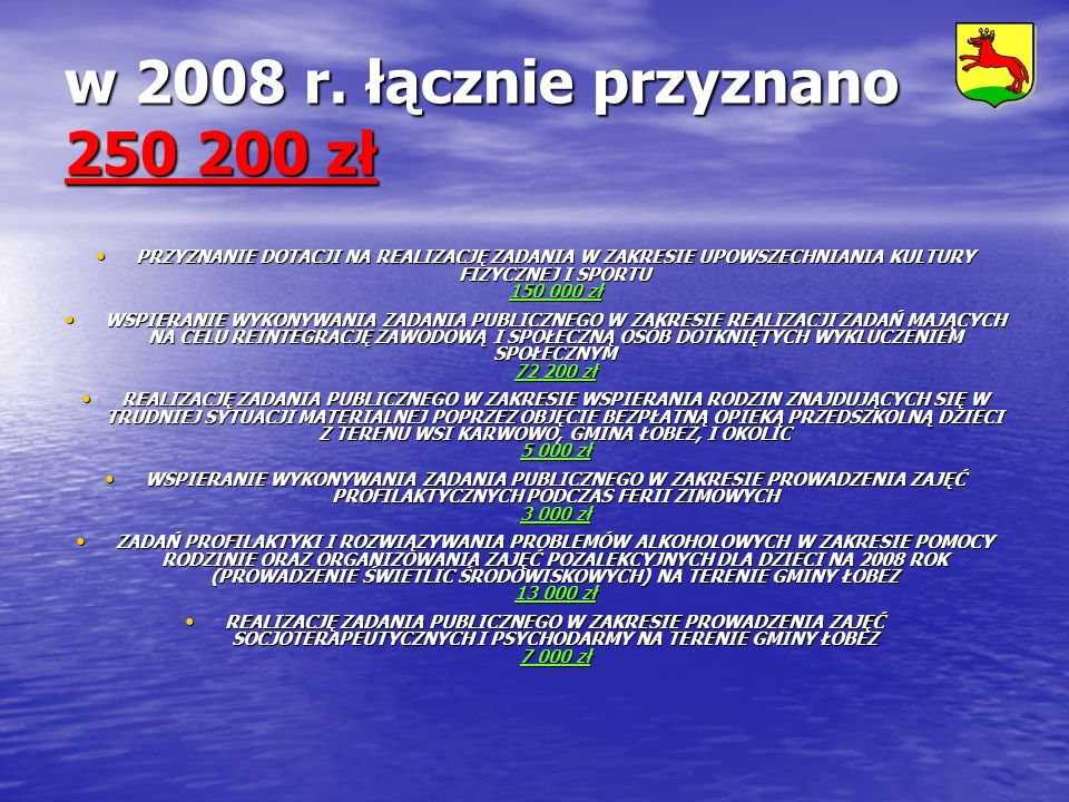 w 2008 r. łącznie przyznano 250 200 zł PRZYZNANIE DOTACJI NA REALIZACJĘ ZADANIA W ZAKRESIE UPOWSZECHNIANIA KULTURY FIZYCZNEJ I SPORTU 150 000 zł PRZYZ