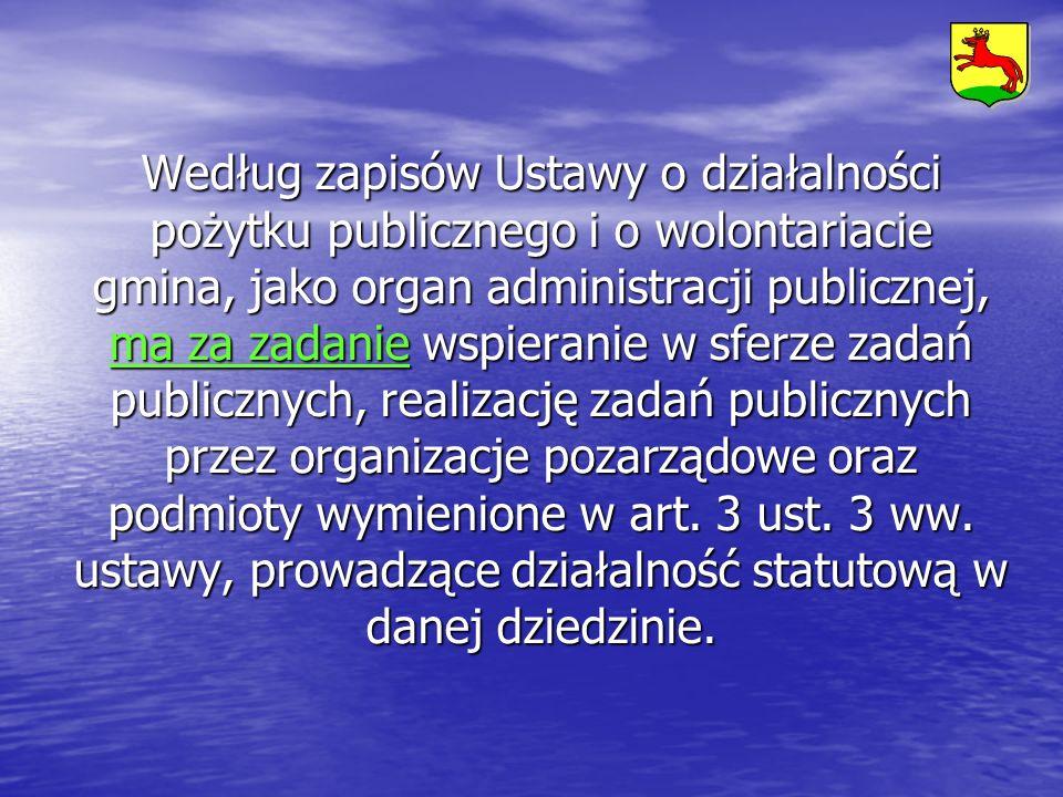 Według zapisów Ustawy o działalności pożytku publicznego i o wolontariacie gmina, jako organ administracji publicznej, ma za zadanie wspieranie w sfer
