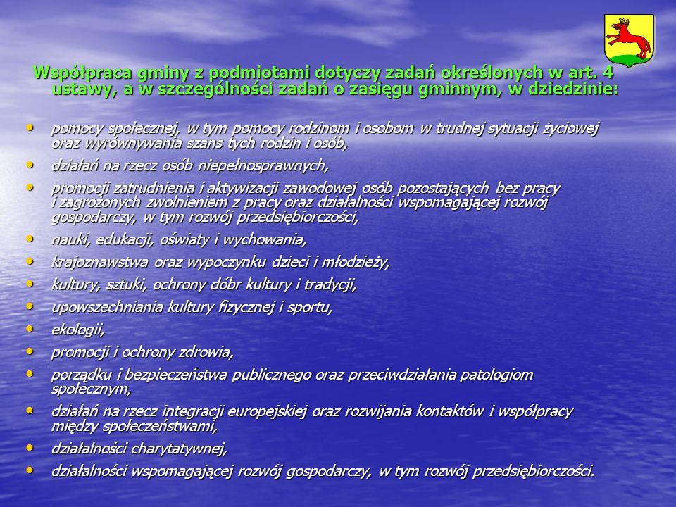 Współpraca gminy z podmiotami dotyczy zadań określonych w art. 4 ustawy, a w szczególności zadań o zasięgu gminnym, w dziedzinie: pomocy społecznej, w