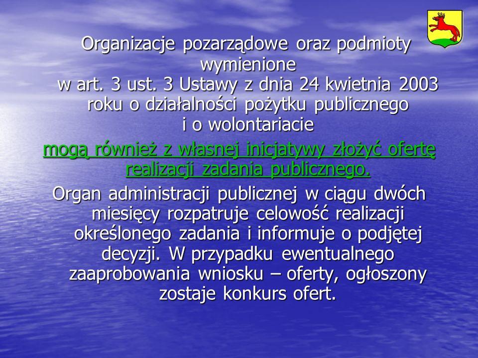 Organizacje pozarządowe oraz podmioty wymienione w art. 3 ust. 3 Ustawy z dnia 24 kwietnia 2003 roku o działalności pożytku publicznego i o wolontaria