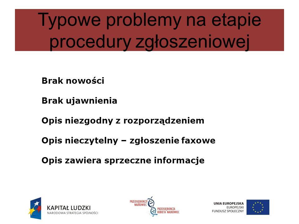 Typowe problemy na etapie procedury zgłoszeniowej Brak nowości Brak ujawnienia Opis niezgodny z rozporządzeniem Opis nieczytelny – zgłoszenie faxowe O