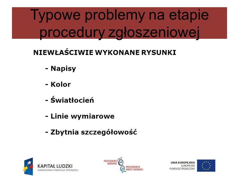 Typowe problemy na etapie procedury zgłoszeniowej NIEWŁAŚCIWIE WYKONANE RYSUNKI - Napisy - Kolor - Światłocień - Linie wymiarowe - Zbytnia szczegółowo