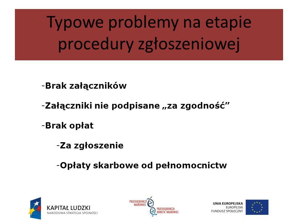 Typowe problemy na etapie procedury zgłoszeniowej -Brak załączników -Załączniki nie podpisane za zgodność -Brak opłat -Za zgłoszenie -Opłaty skarbowe