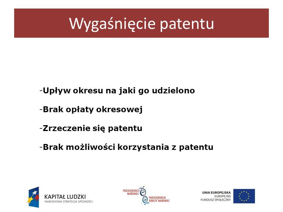 Wygaśnięcie patentu -Upływ okresu na jaki go udzielono -Brak opłaty okresowej -Zrzeczenie się patentu -Brak możliwości korzystania z patentu