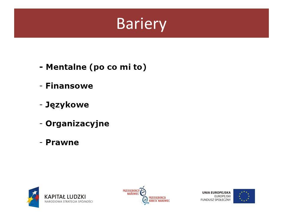 Bariery - Mentalne (po co mi to) - Finansowe - Językowe - Organizacyjne - Prawne