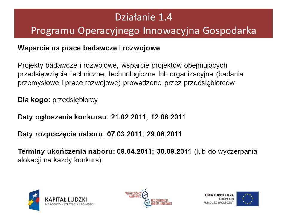 Działanie 1.4 Programu Operacyjnego Innowacyjna Gospodarka Wsparcie na prace badawcze i rozwojowe Projekty badawcze i rozwojowe, wsparcie projektów ob