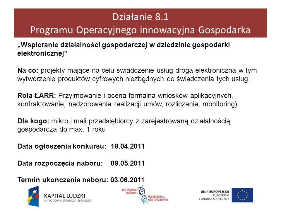 Działanie 8.1 Programu Operacyjnego innowacyjna Gospodarka Wspieranie działalności gospodarczej w dziedzinie gospodarki elektronicznej Na co: projekty
