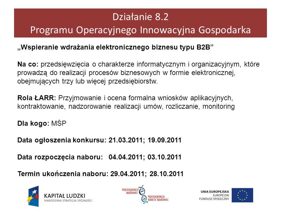 Działanie 8.2 Programu Operacyjnego Innowacyjna Gospodarka Wspieranie wdrażania elektronicznego biznesu typu B2B Na co: przedsięwzięcia o charakterze