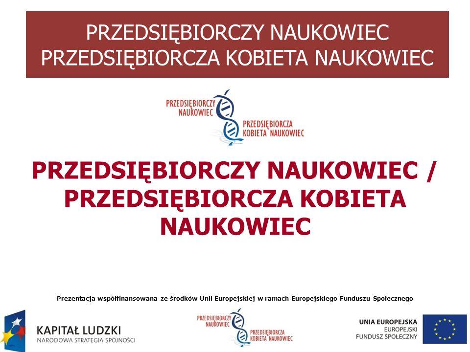 PRZEDSIĘBIORCZY NAUKOWIEC / PRZEDSIĘBIORCZA KOBIETA NAUKOWIEC Prezentacja współfinansowana ze środków Unii Europejskiej w ramach Europejskiego Fundusz